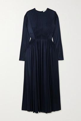 Gabriela Hearst Hermina Pleated Silk-jersey Dress - Navy