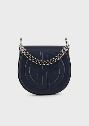 Giorgio Armani Round, Leather Shoulder Bag With Embossed Ga Logo