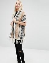 Brave Soul Printed Tassel Hem Knitted Kimono