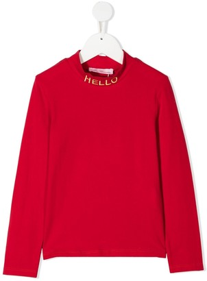 Miss Blumarine Slogan Long-Sleeve Top