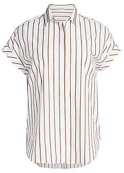 Brunello Cucinelli Women's Pinstripe Cap-Sleeve Shirt