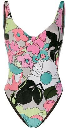 Fendi Floral-Print Scoop-Back Swimsuit