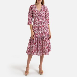 Petite Mendigote Inaya Printed Cotton Dress with 3/4 Length Sleeves