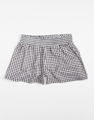 FULL CIRCLE TRENDS Gingham Smocked Waist Girls Shorts