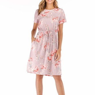 Closhion Women's Short Sleeve Floral Summer Casual Midi Dresses with Pockets Navy Blue L