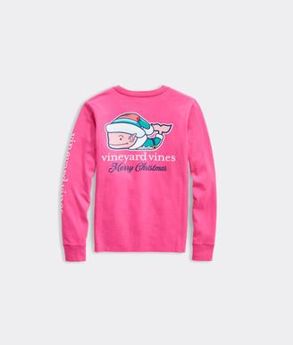 Vineyard Vines Girls' Elf Whale Long-Sleeve Pocket Tee