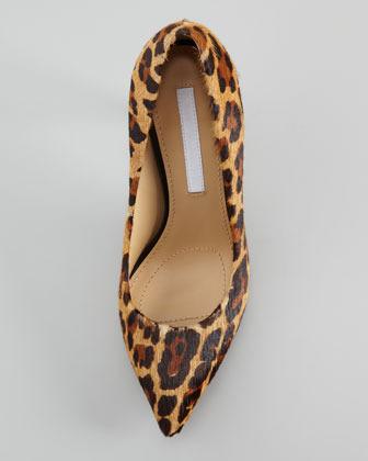 Diane von Furstenberg Anette Leopard-Print Calf Hair Pump, Tan/Chocolate