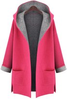 IDIFU Women's Open Front Split Hooded Plus Wool Coat Outerwear -Large
