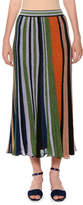Missoni Lamé; Striped Pleated Pull-On Long Skirt