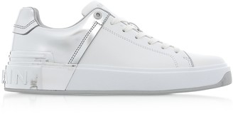 Balmain White & Silver Leather Lace up Women's Sneakers