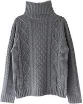 QiuLan Women's Solid Turtleneck Long Sleeve Sweater Stretchy Cable Knit Outwear