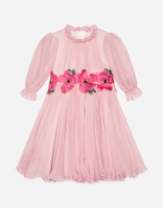 Dolce & Gabbana Chiffon Dress With Embroidered Flowers