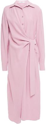 Tibi Wrap-effect Twill Midi Shirt Dress