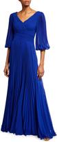 Rickie Freeman For Teri Jon V-Neck 1/2-Sleeve Accordion Pleated Chiffon Gown
