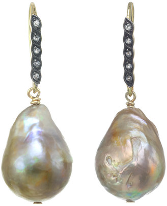 Margo Morrison New York 18K & Silver White Sapphire & 13-15Mm Pearl Drop Earrings
