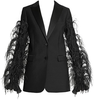 Valentino Ostrich-Feather Wool & Mohair Tuxedo Jacket