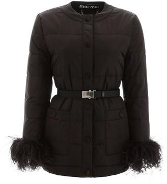 Miu Miu Feather Cuffs Belted Jacket