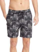 """Onia Charles 7"""" Floral Check Swim Trunks"""