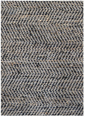 Sai Resources Llc Chevron Handwoven Leather & Jute Flatweave Rug, Black & Gold, 8'x11'