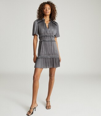 Reiss Lydia - Gather Detailed Mini Dress in Steel