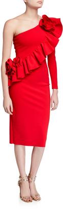 Chiara Boni Asymmetric One-Shoulder Knee-Length Ruffle Cocktail Dress
