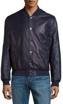 Brioni Baseball-Collar Leather Jacket
