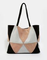Asos Suede Patchwork Shopper Bag