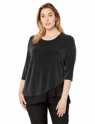 Karen Kane Women's Plus Size 3/4 Sleeve Sheer Hem TOP