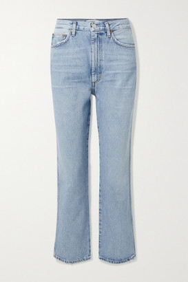 A Gold E Pinch Waist Cropped Distressed High-rise Flared Jeans - Mid denim