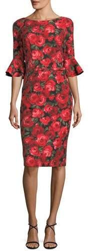 David Meister Floral-Print Trumpet-Sleeve Sheath Dress