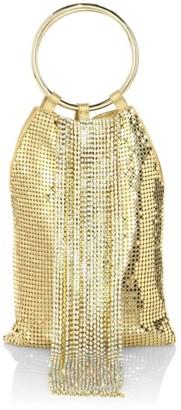 Whiting & Davis Cascade Fringe Crystal & Metal Mesh Bracelet Clutch