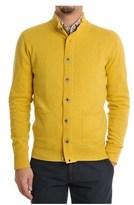 H953 Men's Yellow Wool Cardigan.