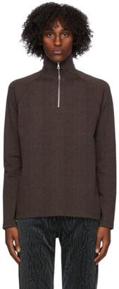 Dries Van Noten Brown Check Half-Zip Sweatshirt