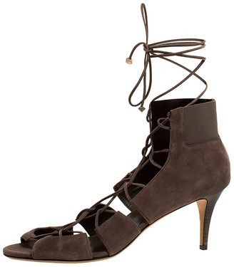 Jimmy Choo Dark Beige Suede Myrtle Ankle Wrap Sandals Size 42