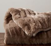 Pottery Barn Ruched Faux Fur Throw - Taupe