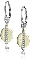 Meira T Yellow Gold Disk Diamond Strip Drop Earrings