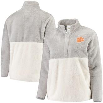 Women's Gray/Cream Clemson Tigers Plus Size Fuzzy Fleece Colorblocked Four-Snap Pullover Jacket