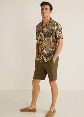 MANGO MAN - Hawaiian flowy shirt beige - L - Men