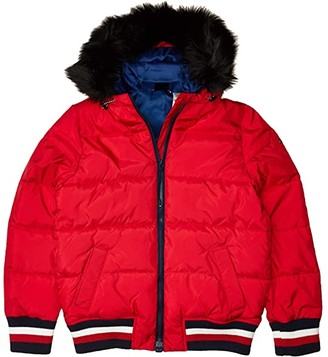 Tommy Hilfiger Adaptive Faux Fur Hooded Puffer (Crimson) Women's Clothing