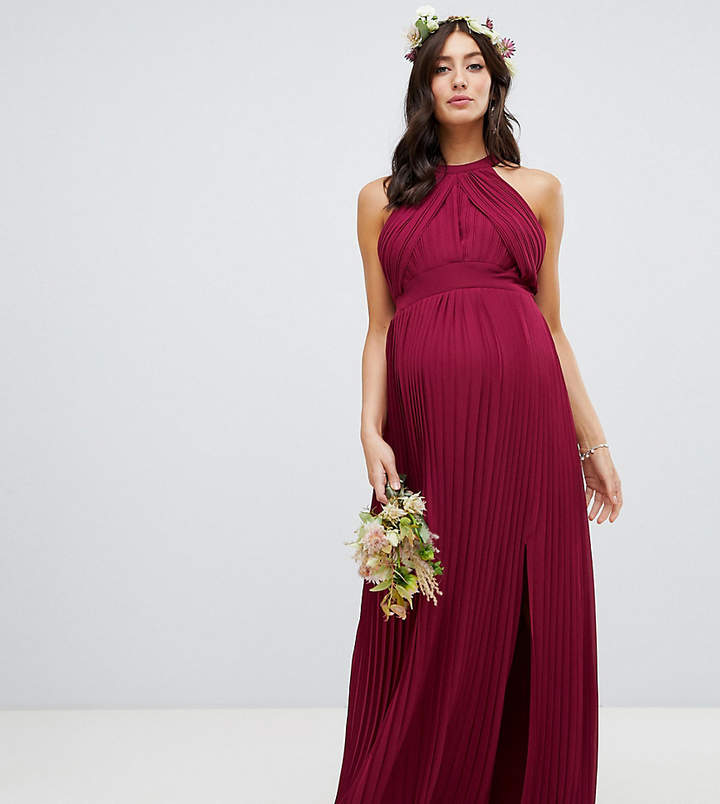 TFNC Maternity Maternity pleated bridesmaids maxi dress in burgundy