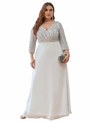 Ever Pretty Ever-Pretty Women's Sequin Long Sleeve V Neck A Line Chiffon Plus Size Bridesmaid Dresses Dark Green 14UK