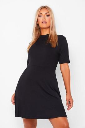 boohoo Plus Jersey High Neck Shift Dress