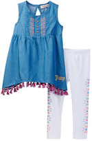 Juicy Couture Chambray Tunic with Tassel Trim & Legging Set (Toddler Girls)