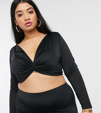 Asos DESIGN Curve co-ord twist detail long sleeve top
