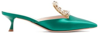 Roger Vivier Broche Vivier Crystal-buckle Satin Mules - Emerald