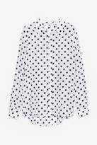 Genuine People Silk Polka Dot Button Down Blouse