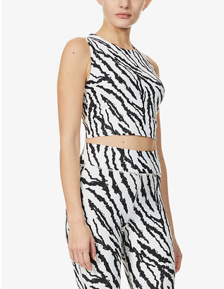 Michi Mystic zebra-print stretch-woven sports bra