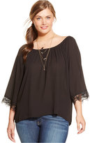 ING Plus Size Lace-Trim Relaxed Blouse