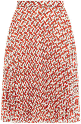 Burberry Pleated Printed Chiffon Skirt