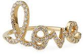 Sydney Evan Large Love 14K Gold Ring with Diamonds, Size 6.5